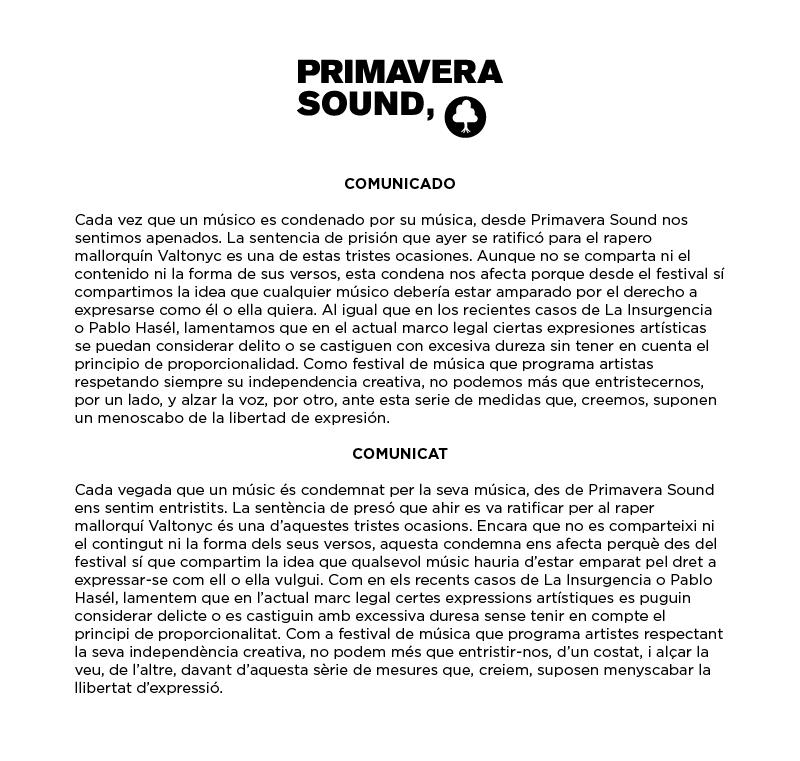 Comunicado Primavera Sound